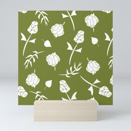 Bright Olive Green and White Floral Pattern Mini Art Print