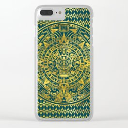 Gold  Aztec Inca Mayan Calendar Clear iPhone Case