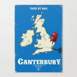 canterbury Vintage rail travel poster Canvas Print
