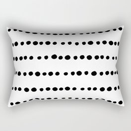 Spotted, Mudcloth, White and Black, Boho Print Rectangular Pillow