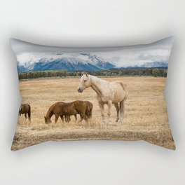 Mountain Horse - Western Style in the Grand Tetons Rectangular Pillow