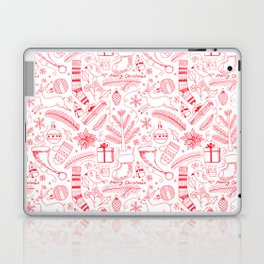 Doodle Christmas pattern red Laptop & iPad Skin