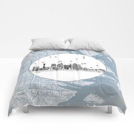 Sydney, New South Wales, Australia City Skyline Illustration Drawing Comforters