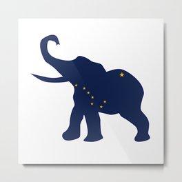 Alaska Republican Elephant Flag Metal Print