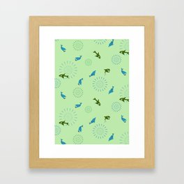 Green Orca and Dolphin Framed Art Print