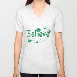 BELIEVE - green stars & butterflies Unisex V-Neck