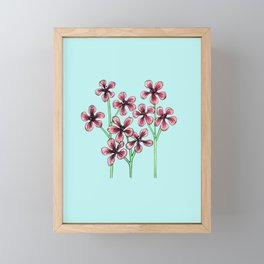 Cherry Blossoms on Blue Framed Mini Art Print