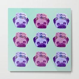 crowned pug pattern Metal Print