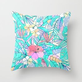 Pretty Pastel Hawaiian Hibiscus Print Throw Pillow