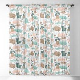 Retro Mid Mod Living Room Sheer Curtain