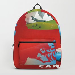 Canada illustrated travel poster. Backpack