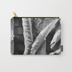 Large Black and White Curled Leaves and Geometric Tile Carry-All Pouch