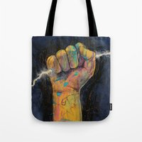 lightning Tote Bags featuring Lightning by Michael Creese