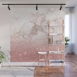 Elegant Faux Rose Gold Glitter White Marble Ombre Wall Mural