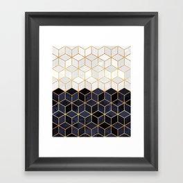 White & Navy Cubes Framed Art Print