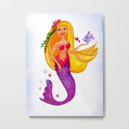 Pretty Blonde Mermaid Metal Print