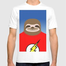 A SLOTH NAMED FLASH SMALL White Mens Fitted Tee