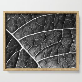 LEAF STRUCTURE no2a BLACK AND WHITE Serving Tray