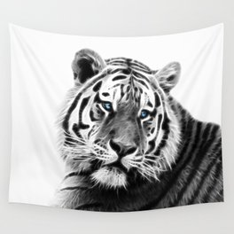 Black and white fractal tiger Wall Tapestry