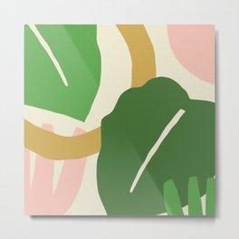 Big colorful tropical leaves crackled design for fine houses decoration. Metal Print