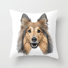 Dog Collie distinctive type landraces pointed snout agile Throw Pillow