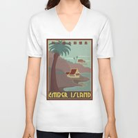 travel poster V-neck T-shirts featuring Ember Island Travel Poster by HenryConradTaylor