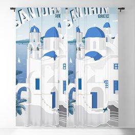 Vintage Santorini poster Blackout Curtain