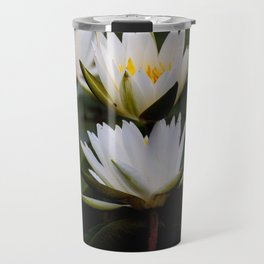 White Lily Flowers In A Pond With Green Lily Pads Travel Mug