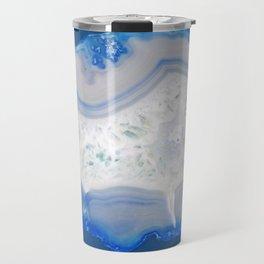 agate, quartz, crystal stone cornflower blue, royal blue, cobalt, gray Travel Mug