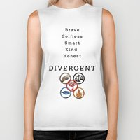 divergent Biker Tanks featuring DIVERGENT - ALL FACTIONS by MarcoMellark