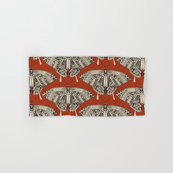 swallowtail butterfly terracotta black Hand & Bath Towel