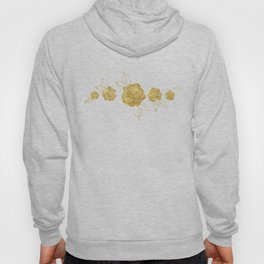 Gold Roses on Dots Basket Weave Hoody