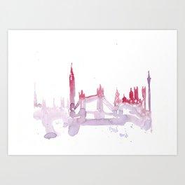 Watercolor landscape illustration_London Art Print