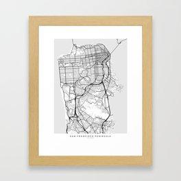 Scandinavian map of San Francisco Penninsula Framed Art Print