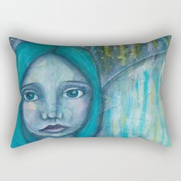 Angel with turquoise hair Rectangular Pillow