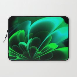 Stylized Half Flower Green Laptop Sleeve