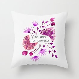 Be Kind To Yourself - Raspberry Color Palette Throw Pillow