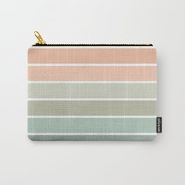 70s Stripe - pastel pink and mint, spring, pink stripes, desert, boho, dorm decor Carry-All Pouch