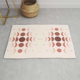 Moon Phases in Terracotta Color Shades Rug