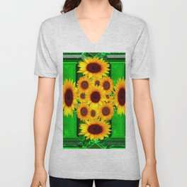 SPRING GREEN EMERALDS & YELLOW FLOWERS  ART Unisex V-Neck