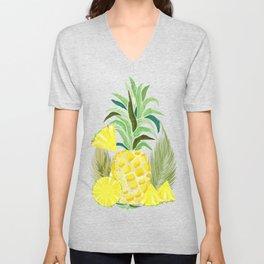 Pineapple Watercolor Fresh Summer Fruit Unisex V-Neck