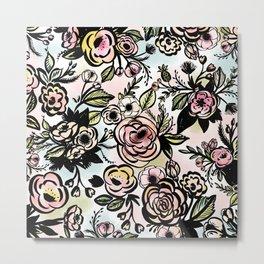 Watercolored Brush Floral Pattern Metal Print
