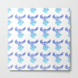 Rising From The Ashes Phoenix Blue Aqua Ombre Metal Print