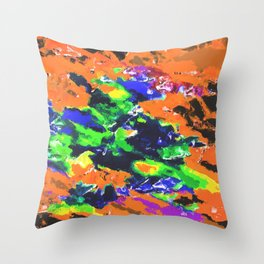 psychedelic splash painting abstract texture in brown green blue yellow pink Throw Pillow