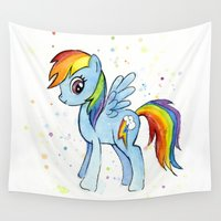 mlp Wall Tapestries featuring Rainbow Dash  by Olechka