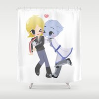 mass effect Shower Curtains featuring Mass Effect - Sh'soni [Commission] by Choco-Minto