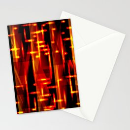 Luxurious red stripes and metallic orange triangles of fire create abstraction and glow. Stationery Cards