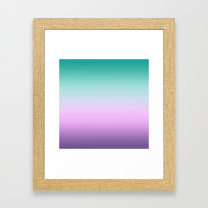 Ombre Pastel Mint Pink Ultra Violet Blurred Gradient Minimal Pattern Framed Art Print