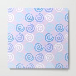 Lavender white blue violet aqua geometrical swirls pattern Metal Print