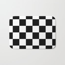 Contemporary Black & White Gingham Pattern Bath Mat